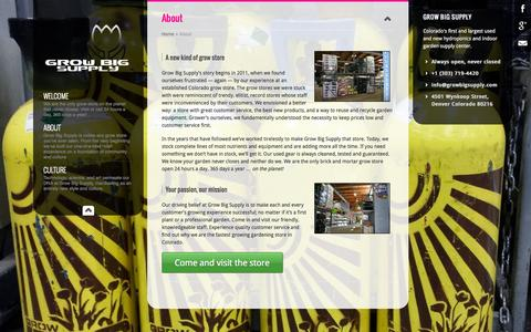Screenshot of About Page growbigsupply.com - About | Grow Big Supply - captured Sept. 30, 2014