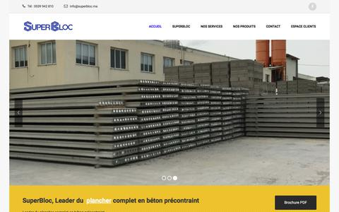 Screenshot of Home Page superbloc.ma - SuperBloc – Leader du plancher complet en béton précontraint - captured July 26, 2018