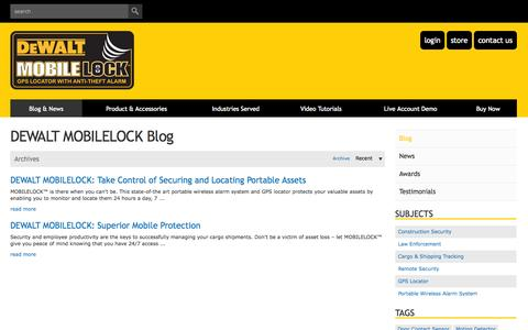 Screenshot of Blog dewaltmobilelock.com - Dewalt Mobilelock portable alarm with GPS: Blog- secure your high value and mobile assets - captured Oct. 2, 2014