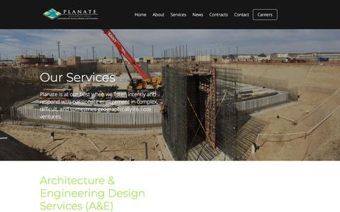 Screenshot of Services Page planate.net - Services - Planate - captured Sept. 25, 2018