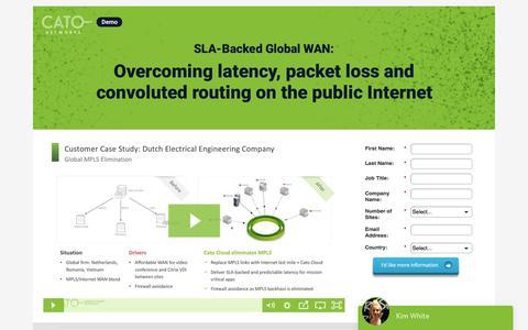 Screenshot of Landing Page catonetworks.com - SLA-Backed Global WAN - captured May 18, 2018