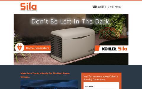 Screenshot of Landing Page sila.com - Kohler Home Generators - Sila Heating & Cooling - captured Oct. 19, 2016