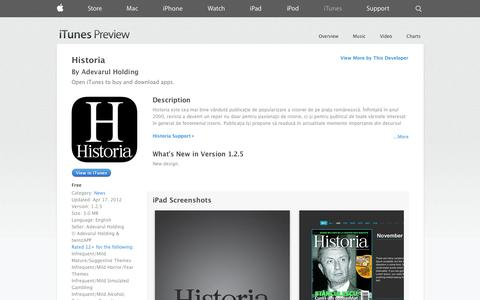 Screenshot of iOS App Page apple.com - Historia on the App Store on iTunes - captured Oct. 23, 2014