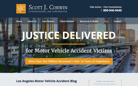 Screenshot of Blog sjclaw.com - Los Angeles Car Accident Law Blog | Scott J. Corwin, A Professional Law Corporation - captured Feb. 4, 2016