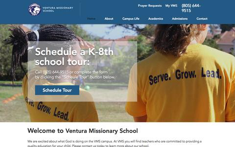Screenshot of Home Page venturamissionaryschool.com - Ventura Missionary School - captured Jan. 11, 2017