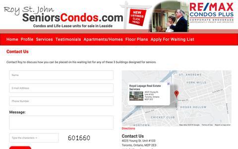 Screenshot of Contact Page seniorscondos.com - Seniors Condos - captured Nov. 10, 2018