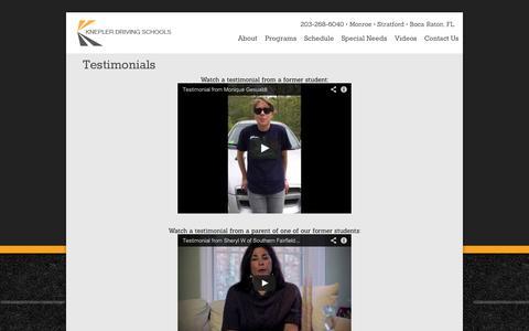 Screenshot of Testimonials Page kneplerdrivingschools.com - Testimonials   Knepler Driving Schools - captured Sept. 30, 2014