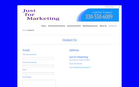 Screenshot of Contact Page justformarketing.com - Contact Us | Just for Marketing - captured Sept. 30, 2014