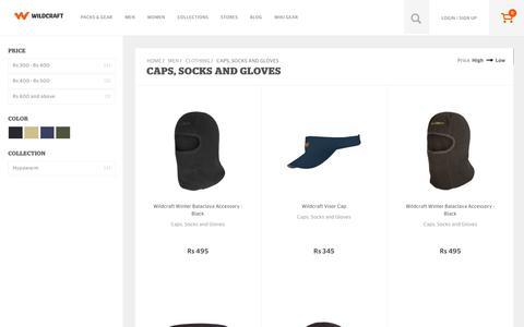 Screenshot of wildcraft.in - Buy Wildcraft Mens Caps, Socks & Gloves Online in India - captured March 19, 2016