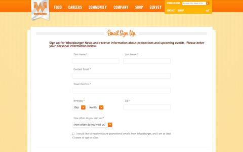 Screenshot of Signup Page whataburger.com - Whataburger - Signup - captured Oct. 26, 2014
