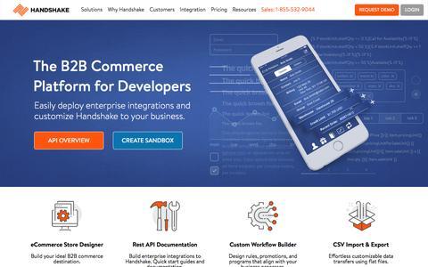 Screenshot of Developers Page handshake.com - Developer Center - captured Dec. 31, 2016