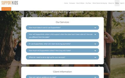 Screenshot of FAQ Page supportkids.com - Supportkids - captured June 19, 2017