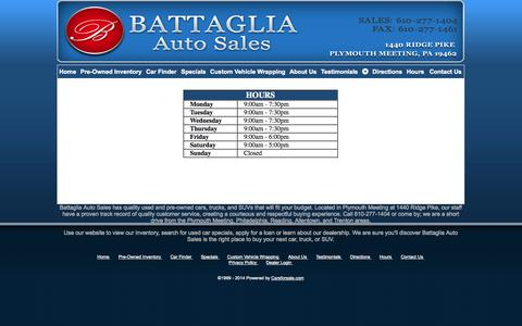 Screenshot of Hours Page battagliaauto.com - Battaglia Auto Sales - Plymouth Meeting PA, 19462 - captured Oct. 5, 2014