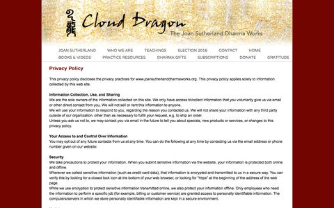 Screenshot of Privacy Page joansutherlanddharmaworks.org - Cloud Dragon: Contact/Privacy Policy - captured Feb. 8, 2017