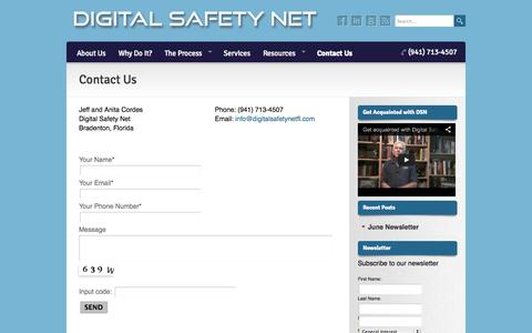 Screenshot of Contact Page digitalsafetynetfl.com - Contact Us   Digital Safety Net - captured Oct. 5, 2014