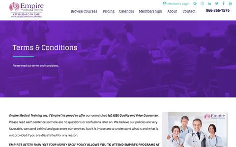 Terms and Conditions | Empire Medical Training