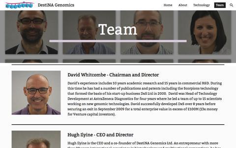 Screenshot of Team Page google.com - DestiNA Genomics - Team - captured Oct. 12, 2017