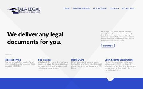 Screenshot of Home Page abalegal.com.au - ABA Legal Document Services Sunshine Coast Brisbane QLD - captured Nov. 19, 2016