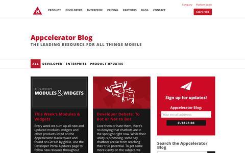 Screenshot of Blog appcelerator.com - Mobility Blog | Appcelerator Inc. - captured July 24, 2016