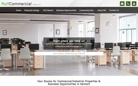 Screenshot of Home Page aultcommercial.com - Vermont Commercial Real Estate | Commercial Properties in VT | Rutla - captured Nov. 21, 2016