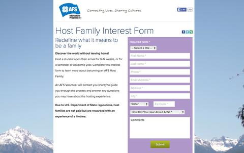 Screenshot of Landing Page afsusa.org - Host Family Interest Form | AFS-USA - captured Oct. 27, 2014