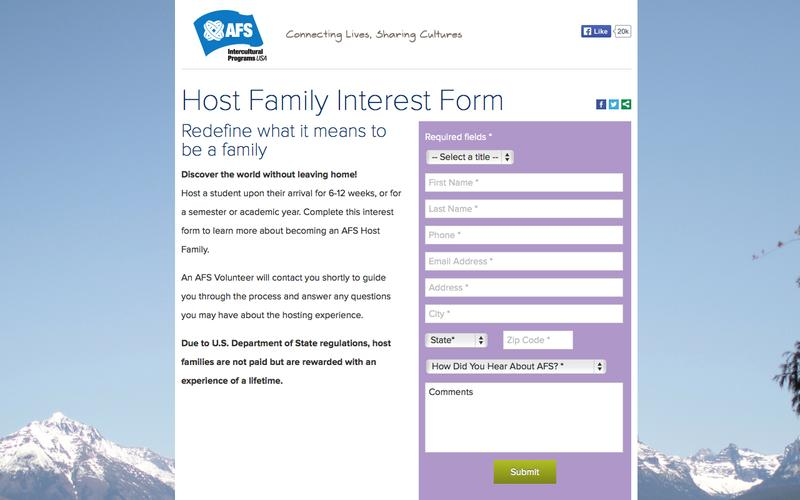 Host Family Interest Form | AFS-USA