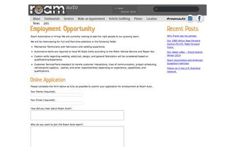 Screenshot of Jobs Page roamauto.com - Jobs - Roam Automotive - captured Nov. 13, 2017
