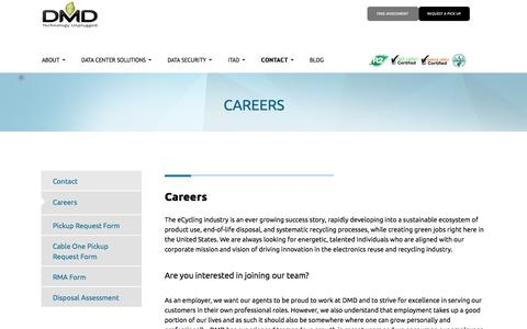 Screenshot of Jobs Page dmdsystems.com - Careers | DMD Systems Recovery | IT Asset Disposal - captured Sept. 13, 2016