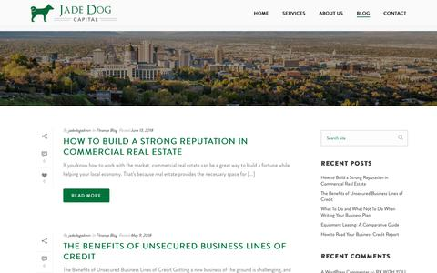 Screenshot of Blog jadedogcapital.com - Commercial Finance Blog | Jade Dog Capital | Draper, UT - captured July 10, 2018