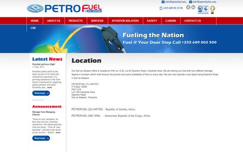 Screenshot of Contact Page Locations Page petrofuel.net - PetroFuel - captured Oct. 22, 2014