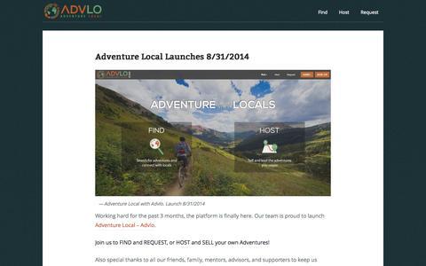 Screenshot of Blog advlo.com - Advlo | Adventure With Locals, Not Tour Guides - captured Sept. 30, 2014