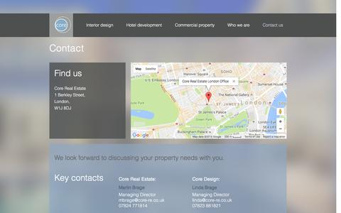Screenshot of Contact Page core-re.co.uk - Core Real Estate | Contact us - captured Nov. 12, 2016