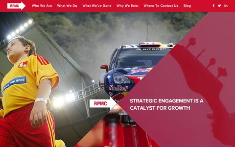 Screenshot of Home Page rpmc.com - RPMC | Immersive Experience | Events - Sponsorships - Incentives - captured Aug. 12, 2015