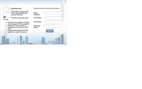 Screenshot of Landing Page cyberark.com captured Dec. 14, 2016