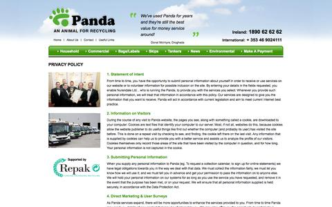 Screenshot of Privacy Page panda.ie - Panda Waste Management Solutions - Privacy Policy - captured Sept. 24, 2014