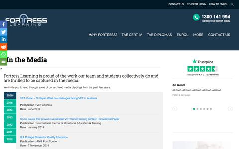 Screenshot of Press Page fortresslearning.com.au - In the Media - Fortress Learning - captured Dec. 1, 2019