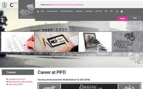 Screenshot of Jobs Page pifd.edu.pk - admission - captured Sept. 26, 2018
