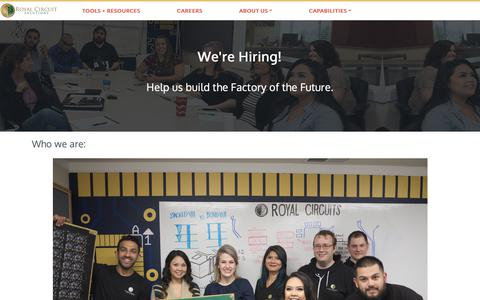 Screenshot of Jobs Page royalcircuits.com - Careers | Royal Circuit Solutions - captured Oct. 20, 2018