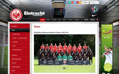 Screenshot of Team Page eintracht.de - Team - Eintracht Frankfurt - Offizielle Website - captured Jan. 19, 2016