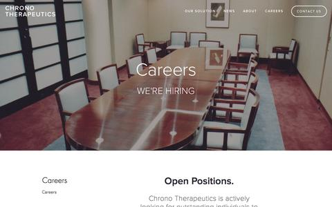Screenshot of Jobs Page chronothera.com - Careers — Chrono Therapeutics - captured Aug. 11, 2015