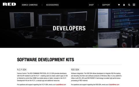 Screenshot of Developers Page red.com captured Sept. 22, 2018