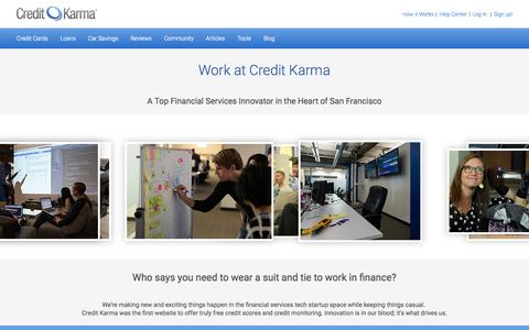 Screenshot of Jobs Page creditkarma.com - Work at Credit Karma | Credit Karma - captured Oct. 1, 2015
