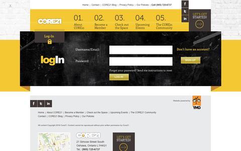Screenshot of Login Page core21.ca - Login | CORE21 - captured Oct. 9, 2016