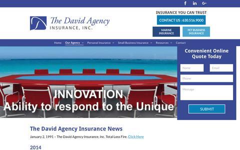 Screenshot of Press Page thedavidagency.com - The David Agency Insurance | Elmhurst, IL - captured Oct. 19, 2018