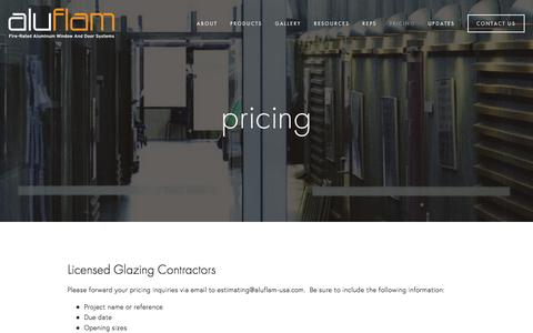 Screenshot of Pricing Page aluflam-usa.com - Pricing — Fire Rated Aluminum | Glazing | Windows | Doors | Vision Walls | Curtain Walls - captured Feb. 5, 2016