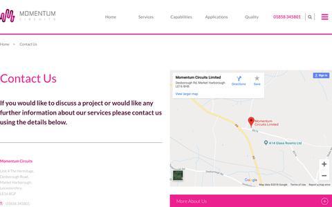 Screenshot of Contact Page momentumcircuits.com - Contact Us | Momentum Circuits_2018 - captured Oct. 18, 2018