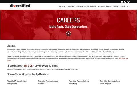 Screenshot of Jobs Page divcom.com - Careers | Diversified Communications - captured Oct. 12, 2017