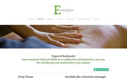 Screenshot of Services Page needexhalemassage.com - Services - Exhale Massage - captured Nov. 21, 2018