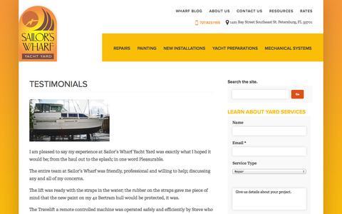 Screenshot of Testimonials Page sailorswharf.com - Testimonials - captured Oct. 4, 2014