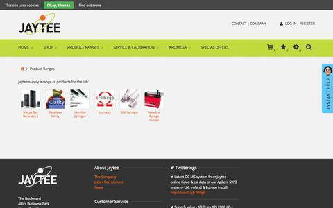 Screenshot of Products Page jaytee.com - Product Ranges from Jaytee - captured Sept. 24, 2015